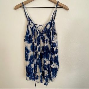 Billabong Blue Floral Criss-Cross Strappy Tank Top